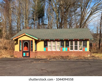 Avon, CT, USA, February 27, 2018: Colorful small house.