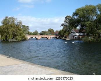 The Avon River in Stratford-upon-Avon in Warwickshire, West Midlands, United Kingdom