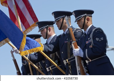 AVONDALE, AZ - NOV 15: The US Air Force Color Guard presents the colors before the Checker O'Reilly Auto Parts 500 race at the PIR on November 15, 2009 in Avondale, AZ.