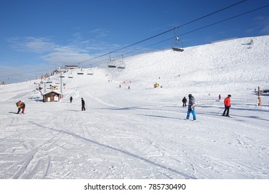 Avoriaz, France - December 19, 2017: The perfect ski slopes at the begining of the season in the center of Avoriaz in the Portes du Soleil ski area in the French Alps.