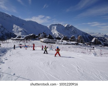 AVORIAZ, FRANCE - FEB 19, 2018 - Ski school descends to the Portes du Soleil town of Avoriaz, France