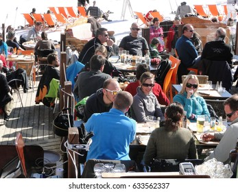 AVORIAZ, FRANCE - FEB 25 - Skiers enjoy lunch outdoors in the sun  on Feb 25, 2012 in Avoriaz, France