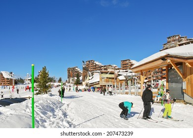 AVORIAZ, FRANCE - JANUARY 3, 2013: shopping street in Avoriaz town in Alps, Portes du Soleil. Les Portes du Soleil is major ski area in Alps, thirteen resorts between Mont Blanc and Lake Geneva