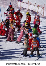 AVORIAZ, FRANCE - MAR 3 - French children form ski school groups during the annual winter school holiday on Mar 3, 2013 in Avoriaz, France.