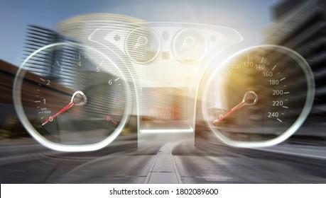 Avto car dashboard. Speed control panel