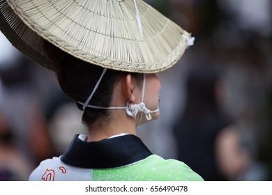 Awaodori Dancer during a summer festival (matsuri) in Kagurazaka, Tokyo.