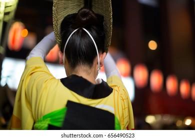 Awaodori Dancers during a summer festival (matsuri) in Kagurazaka, Tokyo.