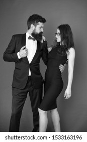 Award ceremony concept. Bearded gentleman wear tuxedo girl elegant dress. Formal dress code. Visiting event or ceremony. Couple ready for award ceremony. Corporate party. Gorgeous couple in love.