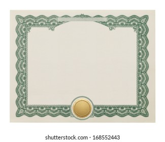 Award Degree With Copy Space and Gold Seal Isolated on White Background.