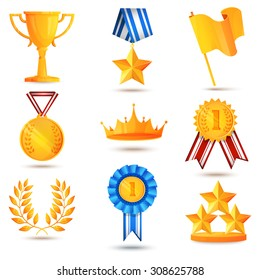 Award icons set of trophy medal winner prize champion cup isolated  illustration