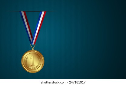 Award medal with Ribbon isolated on Background.
