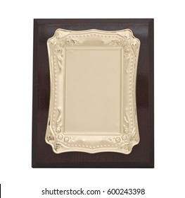 Award Mock Up, gold and brass wood plate isolated on white background