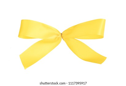 Award ribbon isolated on a white background, yellow