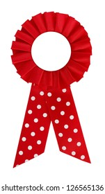 Award rosette prize with dotted red ribbon blank