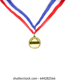 Award of Victory. Winners at the best games, gold medal mockup isolate On a white background  .