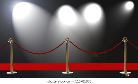 AWARDS. Barrier rope and red carpet High resolution 3D