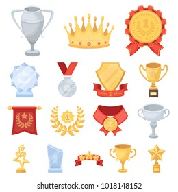 Awards and trophies cartoon icons in set collection for design.Reward and achievement bitmap,  symbol stock web illustration.