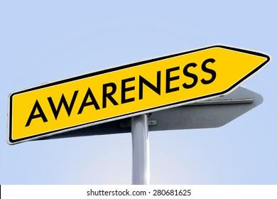 awareness word on yellow roadsign concept