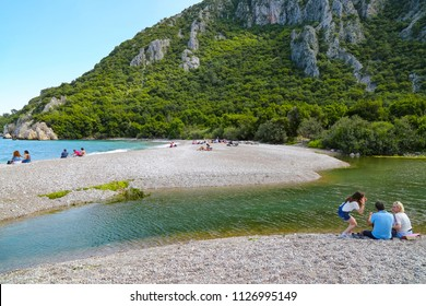 For away from city life a unique holiday includes natural, history, sea and river in Olympos. Just enjoy it. The beach at Olympos, on Turkey's Mediterranean coast. April 2018, Antalya-Turkey
