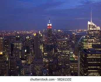 Awe inspiring skyline of midtown Manhattan including the Empire State Building