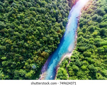 Awesome aerial view of beautiful blue river
