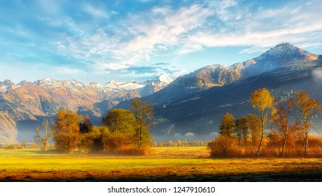 Awesome alpine highlands with perfect sky in sunny day. Frosted fog covering the valley in sunlit during sunrise. wonderful picturesque Scene. Amazing Autumn landscape. Beautiful nature background.