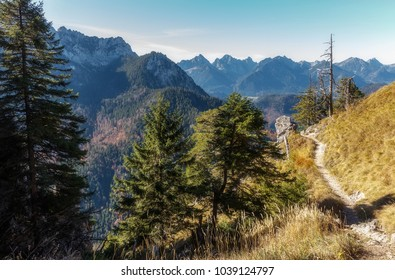 Awesome alpine highlands in sunny day. famouse tuoristic marshrute near majestic Neuschwanstein castle. near Munich in Bavaria, Germany. Popular Photography Locations. Ideas for Great Travels