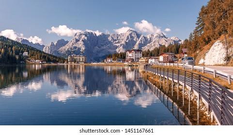 Awesome alpine lake Misurina in summer day. National Park Tre Cime di Lavaredo, Auronzo, Dolomiti Alps, South Tyrol, Italy, Europe. Scenic image of most popular tourist attraction. Nature landscape