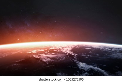 Awesome beautiful Earth planet in cold and warm light. Elements of this image furnished by NASA