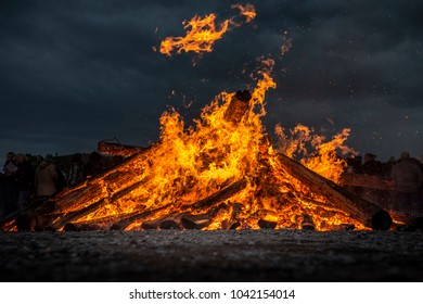Awesome Easter / Bonfire in North Rhine-Westphalia in Germany.