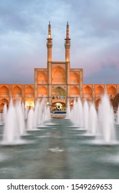 Awesome evening view of the Amir Chakhmaq Complex and beautiful fountain in the historical city of Yazd, Iran. Unique Persian architecture of the ancient town.