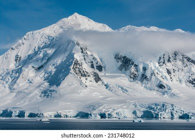 Awesome ice covered mountains in Antarctica