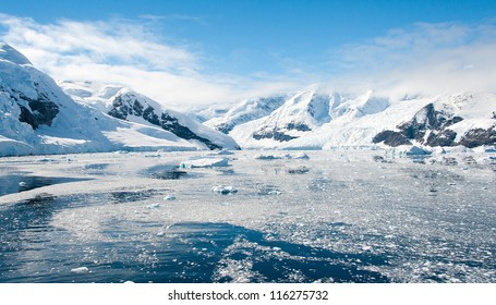 Awesome landscape in Antarctica, bright sunny day
