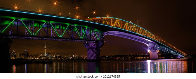 Awesome light show. Vector lights on Auckland Harbour Bridge Vector, North Island New Zeland.