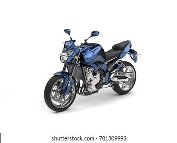 Awesome metallic blue modern motorcycle - studio shot - 3D Illustration