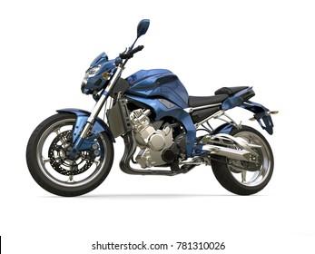 Awesome metallic blue modern motorcycle - 3D Illustration