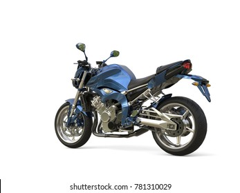 Awesome metallic blue modern motorcycle - tail view - 3D Illustration