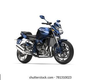 Awesome metallic dark blue modern motorcycle - 3D Illustration