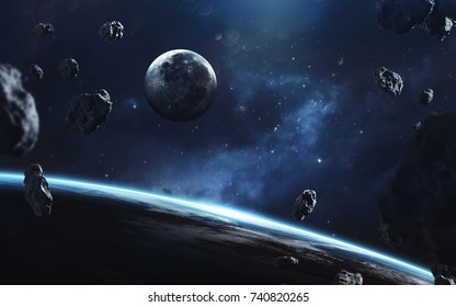 Awesome picture of Earth and moon. Deep space image, science fiction fantasy in high resolution ideal for wallpaper and print. Elements of this image furnished by NASA