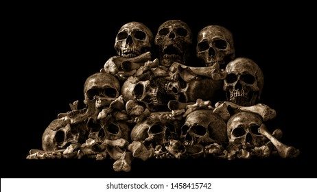Awesome pile of skull and bone on Halloween night, Still Life style, selective focus, Adjustment color for background