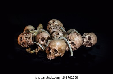 Awesome, pile of skull and bone, on black background, Still Life style