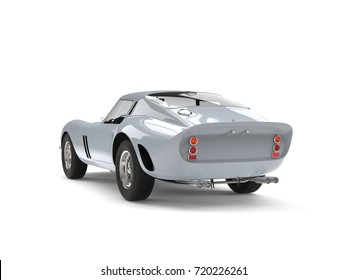 Awesome shiny silver vintage race car - back view - 3D Illustration