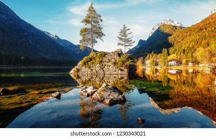 Awesome Sunny nature landscape. Impressively beautiful Hintersee lake at sunrise. best popular location for photographer in World. view of German Alps, Bavarya, Europe. Natural Background for postcard