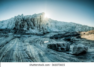 Awesome sunrise over the glacier in the Greenland