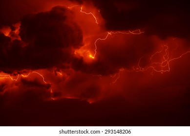 Awesome thunderbolt in dark night sky.