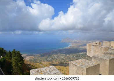 Awesome top view on Trapani from Erice castle, Sicily