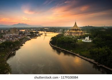 awesome view kuching city and sarawak river - Shutterstock ID 1179100084