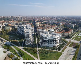 Awesome view of Milan from the sky. City life district in the foreground