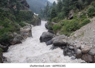 Awesome view of Parvati river near kasol parvati velly near kullu Himachal pradesh India