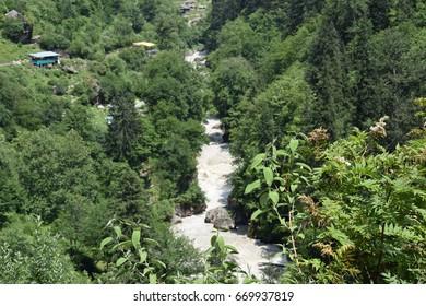 Awesome View of parvati valley from kheerganga Near kasol kullu Himachal Pradesh